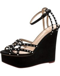 Charlotte Olympia - Black Suede Crystal Embellished Wedge Sandals Size 40 - Lyst