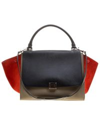 784138f56218 Céline - Tri Color Leather And Suede Medium Trapeze Bag - Lyst