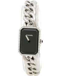 Chanel - Black Stainless Steel And Diamond Premiere Chaine H3254 Women's Wristwatch 20 Mm - Lyst