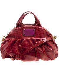 Marc By Marc Jacobs - Croc Embossed Patent Leather Satchel - Lyst