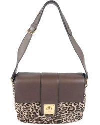 f02603d03d3f Tod's - Brown Leopard Print Hair And Leather Shoulder Bag - Lyst