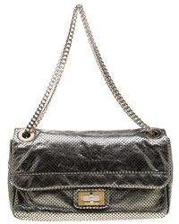 1d01ba44cb7e Chanel - Metallic Green Perforated Leather Reissue Drill Flap Bag - Lyst