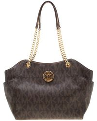 MICHAEL Michael Kors - Brown Signature Coated Canvas Chain Tote - Lyst