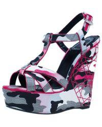 Dior - Pink Camouflage Canvas Anselm Reyle Platform Wedge Sandals - Lyst