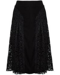 JOSEPH Black Pleated Lace Detail Courtney Skirt M