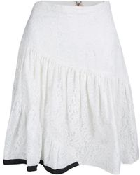 N°21 - Off Floral Lace Patchwork Tiered Skirt S - Lyst