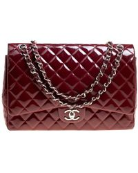 0e88a7c89539 Chanel - Quilted Patent Leather Maxi Classic Double Flap Bag - Lyst
