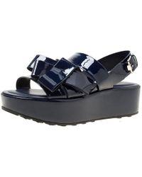 Tod's - Navy Patent Leather Slingback Platform Sandals - Lyst