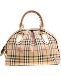 fececdf88e54 Lyst - Burberry Beige and Brown Leather and Coated Canvas Haymarket ...