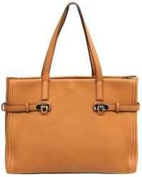 Ferragamo - Camel Pebbled Leather Nencia Tote - Lyst b54d4bcdfa48d