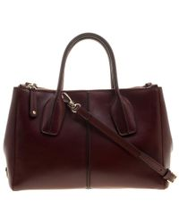 Tod's - Burgundy Leather D-styling Shopper Tote - Lyst