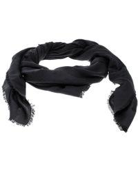 Ferragamo - Black Logo Pattern Jacquard Silk And Wool Shawl - Lyst