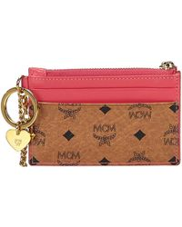 MCM - Cognac/pink Visetos Coated Canvas And Leather Coin Purse - Lyst