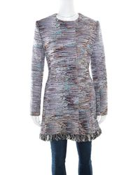 Dior - Cotton Textured Frayed Hem Dress Coat L - Lyst
