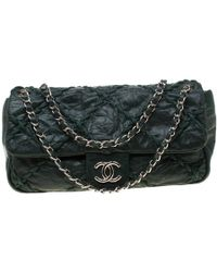 2ec242becac0 Chanel - Green Crinkled Leather Ultra Stitch Classic Flap Bag - Lyst