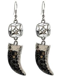 Roberto Cavalli - Marble Tooth Crystal Tone Hook Earrings - Lyst