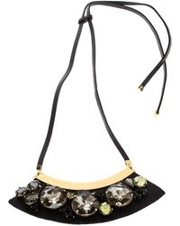 Marni - Mercurio Strass Crystal Embellished Leather Collar Necklace - Lyst
