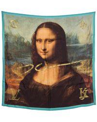 Louis Vuitton - X Jeff Koons Monalisa Printed Silk Lurex Embroidered Square Scarf - Lyst