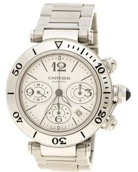 Cartier - White Stainless Steel Pasha Seatimer Chronograph 2995 Men's Wristwatch 42mm - Lyst