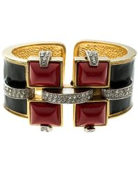 Roberto Cavalli - Art Deco Black Enamel Crystal Gold Tone Wide Cuff Bracelet - Lyst