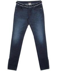 Chanel - Indigo Dark Wash Denim Waist Applique Detail Stretch Jeans M - Lyst