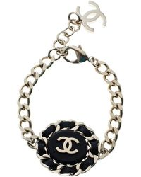 Chanel - Cc Black Leather Gold Tone Chain Link Bracelet - Lyst