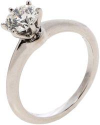 Tiffany & Co. - 1.12ct Solitaire Diamond & Platinum Tiffany Setting Engagement Ring - Lyst