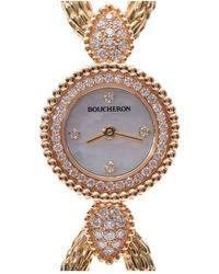 Boucheron Serpan Boheme Mop 18k Yellow Gold And Diamond Wa015501 Women's Wristwatch 18 Mm - White