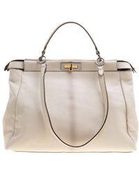 Fendi - Off Leather With Python Lining Large Peekaboo Bag - Lyst