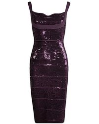 Hervé Léger - Prune Sequin Embellished Sleeveless Bandage Dress M - Lyst
