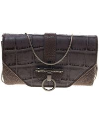 Givenchy - Grey/beige Croc And Lizard Embossed Leather Obsedia Shoulder Bag - Lyst