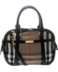 8a3025dc62ca Burberry - House Check Fabric And Leather Orchard Bowling Bag - Lyst