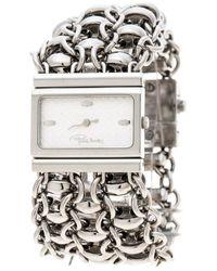 Roberto Cavalli Silver White Stainless Steel Chain Women's Wristwatch 28mm