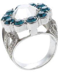 Dior - Blue Crystal Flower Tone Ring - Lyst