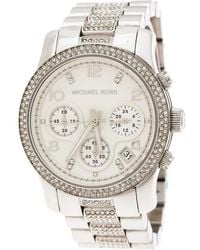 30137eaad Michael Kors - Silver White Stainless Steel Runway Glitz Mk5825 Women's  Wristwatch 38 Mm - Lyst