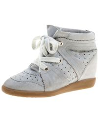 e5fc6ff6e6d Lyst - Isabel Marant Bobby Wedge Sneakers White in Metallic