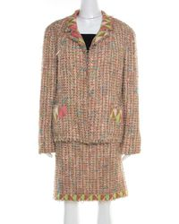 Chanel - Vintage Multicolour Textured Tweed Jersey Lined Skirt Suit Xxl - Lyst