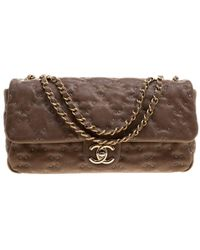 b8ab5b1c4110 Chanel - Taupe Quilted Wild Stitch Caviar Leather Classic Flap Shoulder Bag  - Lyst