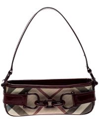 Burberry - Beige/red Nova Check Coated Canvas Pochette Shoulder Bag - Lyst