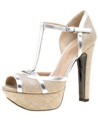 Barbara Bui - Beige Jute And Metallic Silver Leather T Strap Platform Sandals Size 37 - Lyst