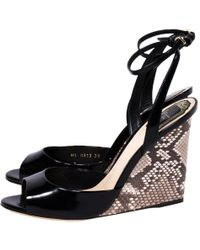 Dior - Patent Leather And Python Ankle Strap Wedges - Lyst