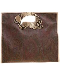 Etro - /beige Paisley Coated Canvas Python Embossed Detail Bag - Lyst
