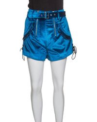 Self-Portrait - Peacock Velvet Lace-up Cuff Belted High Waist Shorts S - Lyst