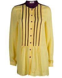 d32c0273561c8 Etro Women s Floral Tie-neck Silk Blouse - Navy - Size 48 (12) in ...