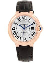 Cartier - Silver Guilloche 18k Rose Gold Ballon Bleu Women's Wristwatch 36mm - Lyst