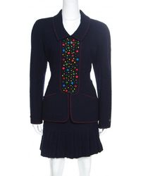 Chanel - Vintage Textured Wool Applique Detail Pleated Skirt And Blazer Set L - Lyst