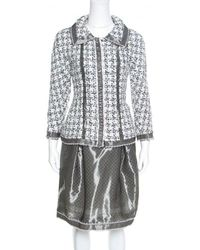 Chanel - And White Textured Lace Trim Jacket And Skirt Set M - Lyst