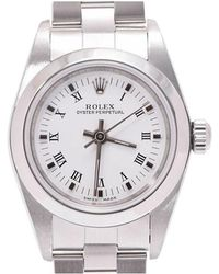 Rolex - White Stainless Steel Oyster Perpetual Women's Wristwatch 24mm - Lyst