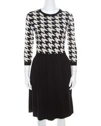 Dior - Monochrome Houndstooth Paneled Wool Dress S - Lyst