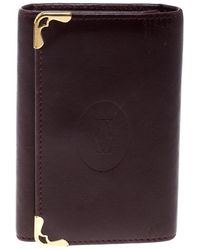 Cartier Burgundy Leather Must De Key Holder